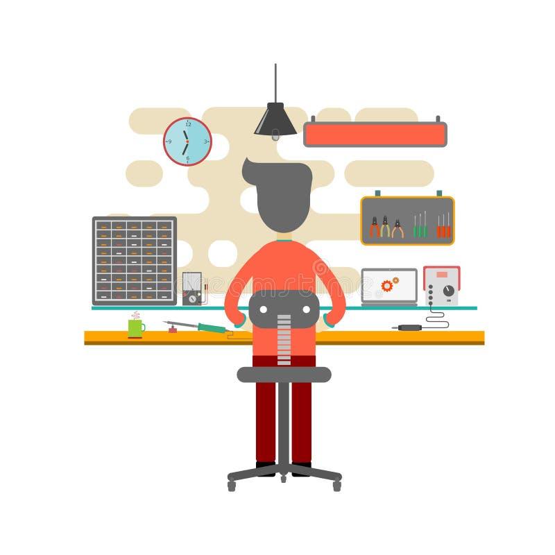 Mann, der im Büro als Computertechniker arbeitet Flacher Designvektor Computer-Design lizenzfreie abbildung