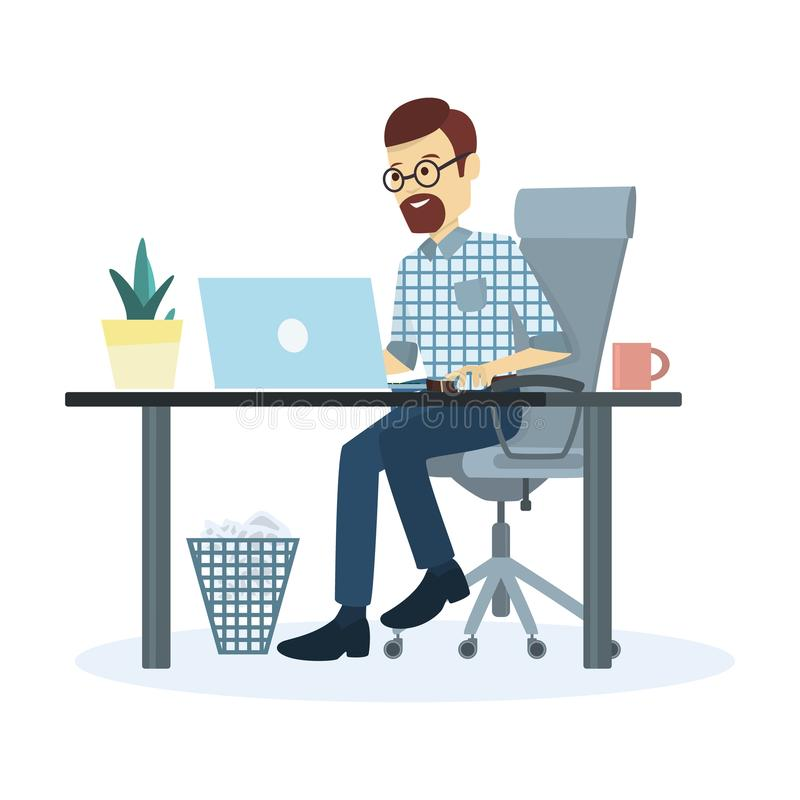 Mann, der im Büro arbeitet lizenzfreie abbildung