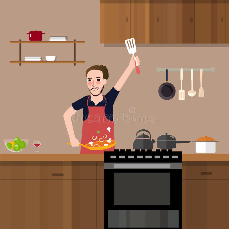Mann in der Küche den Aufruhrfischrogen kochend, der gesunde Gemüsemahlzeit des Lebensmittels allein vorbereitet vektor abbildung