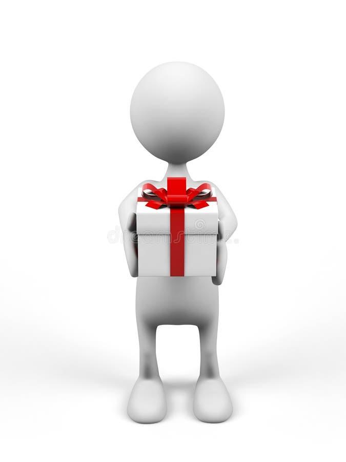 Mann der Karikatur 3d mit Geschenk. stock abbildung