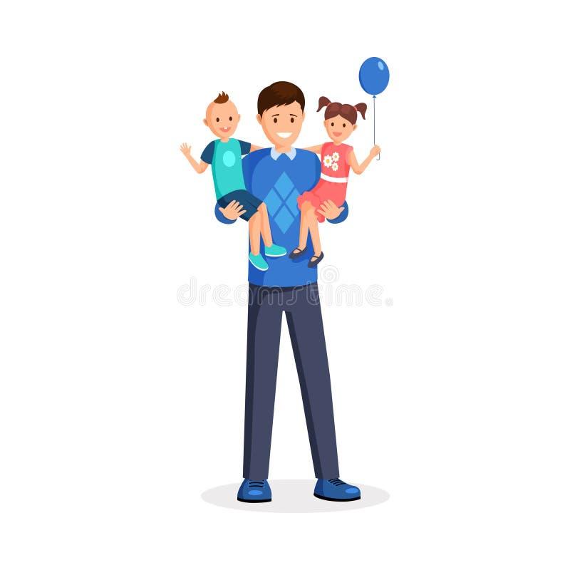 Mann, der Kinderflache Vektorillustration hält Glücklicher Vati, Babysitter, kleines Kleinkind und lächelndes Mädchen mit Ballon vektor abbildung