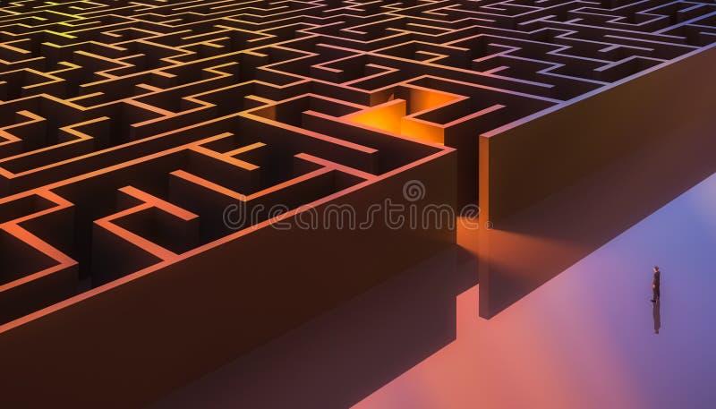 Mann in der Klage, die vor einem rechteckigen Labyrintheingang steht aerial Zusammenfassung und Begriffs stock abbildung