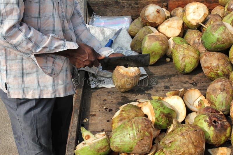 Mann, Der Kokosnuss Zubereitet Lizenzfreie Stockfotografie