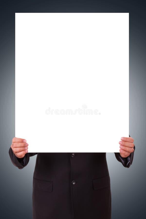 Mann, der leeres Plakat hält stockfotos