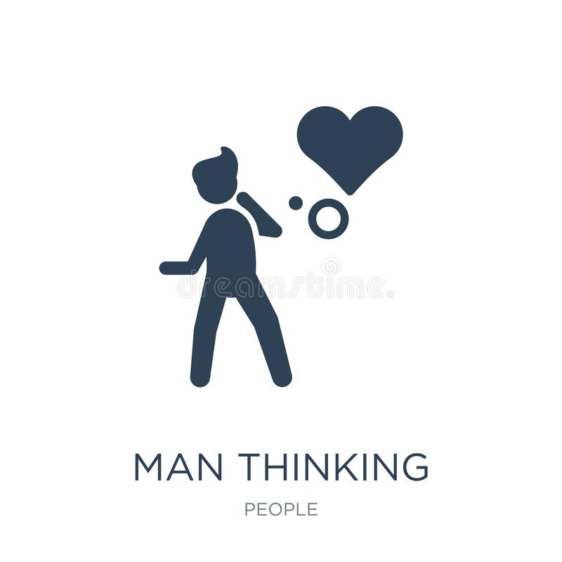 Mann, der an Liebesikone in der modischen Entwurfsart denkt Mann, der an die Liebesikone lokalisiert auf weißem Hintergrund denkt stock abbildung