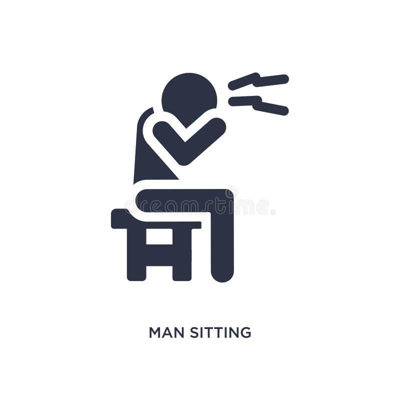 Mann, der mit Kopfschmerzenikone auf weißem Hintergrund sitzt Einfache Elementillustration vom Verhaltenkonzept lizenzfreie abbildung