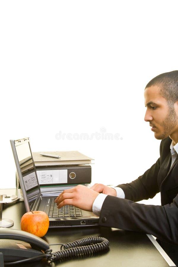 Download Mann, Der Mit Laptop Arbeitet Stockbild - Bild von person, ethnicity: 9090793