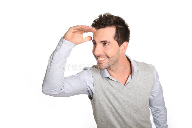 Mann, der nach vorn schaut lizenzfreie stockfotos