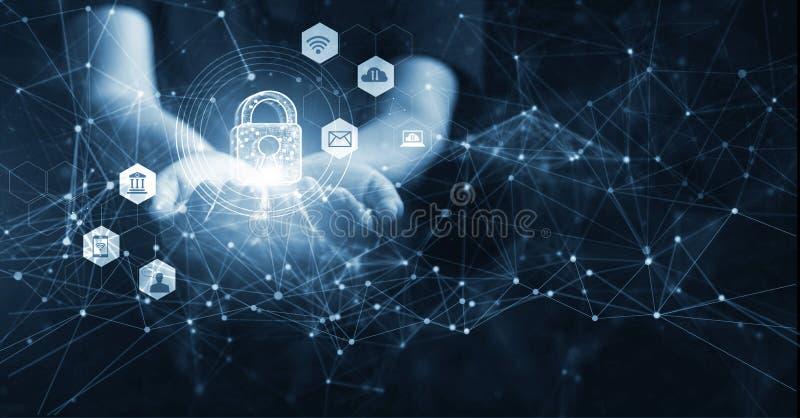 Mann, der Netzwerksicherheit in den Händen, global hält Internetsicherheits- und Informations- oder Datenvernetzungsschutz lizenzfreies stockfoto