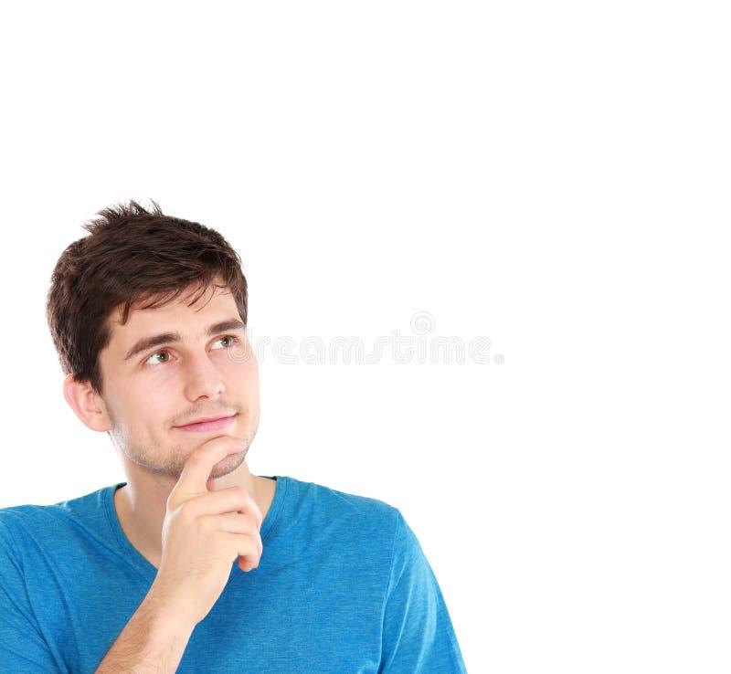 Mann, der oben schaut, um Raum zu kopieren stockbild