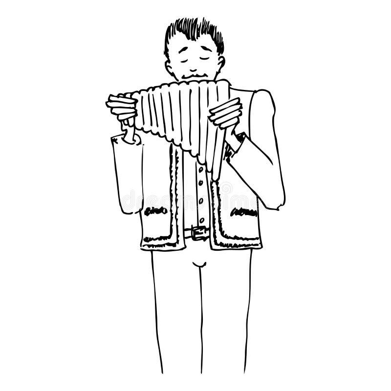 Mann, Der Am Pan-pipe Singt Stockbild