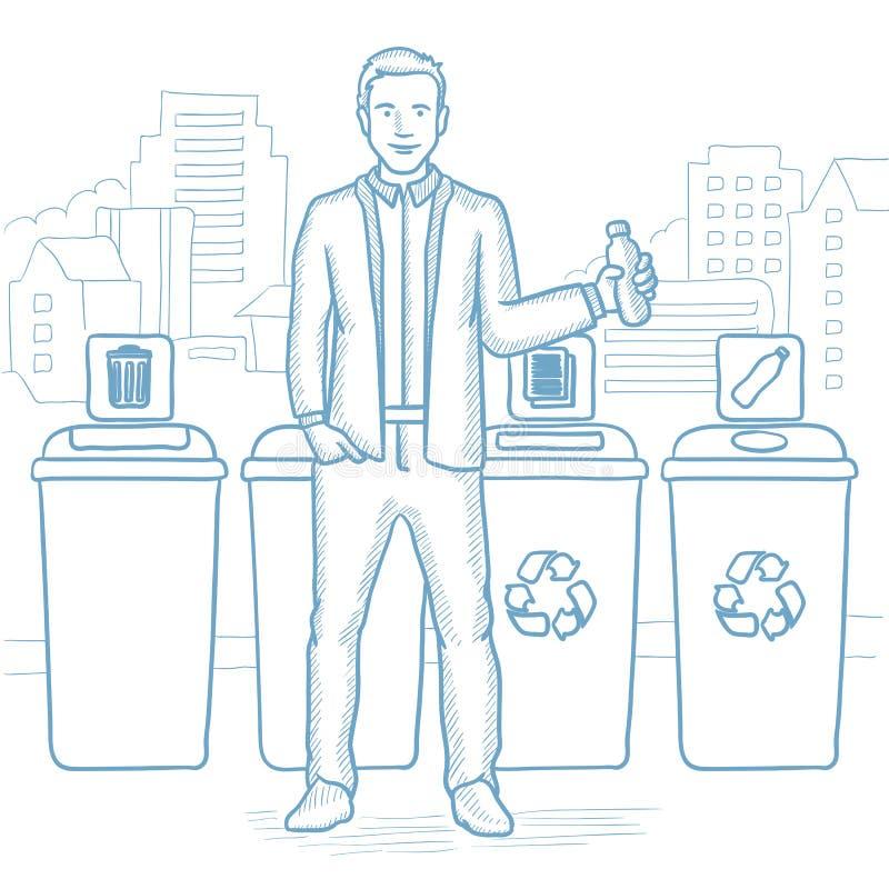 Mann, der Plastikflasche wegwirft stock abbildung