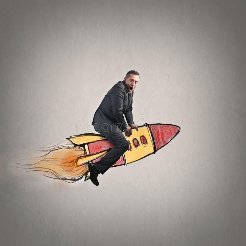 Mann in der Rakete stockbilder