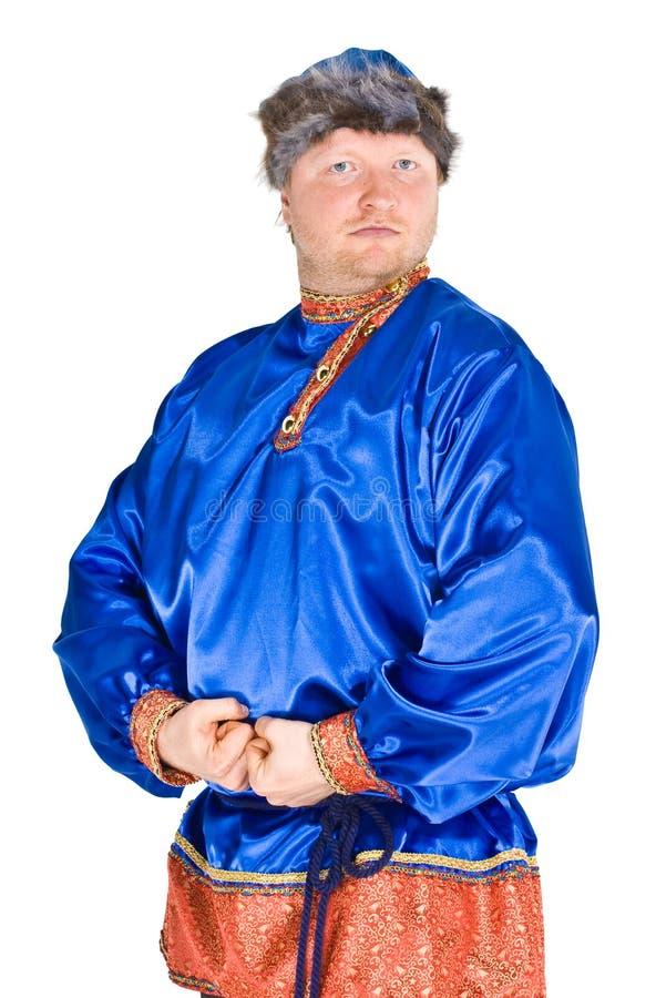 Mann in der russischen Kleidung lizenzfreie stockfotografie