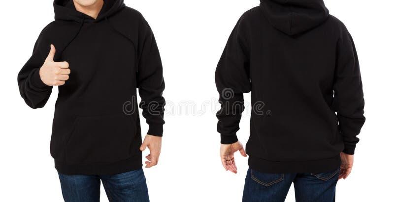 Mann in der schwarzen Sweatshirtschablone lokalisierte Männliche schwarze Sweatshirts eingestellt mit Modell- und Kopienraum Kapu stockbilder