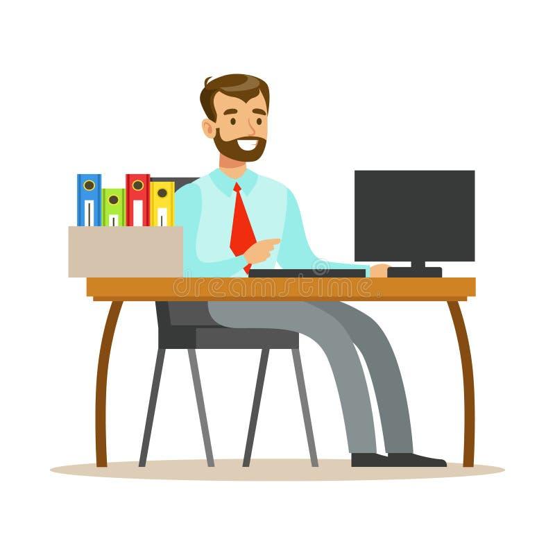 Mann, der an seinem Schreibtisch mit Computer und an den Ordnern, Teil Büroangestellt-Reihe Zeichentrickfilm-Figuren im Beamten a vektor abbildung