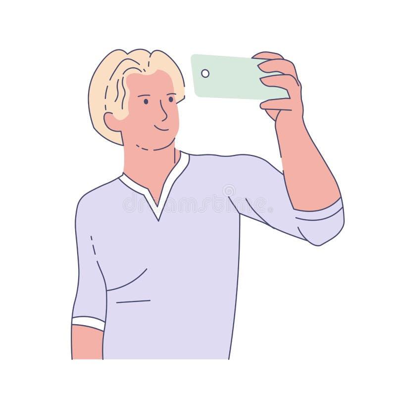 Mann, der selfie mit frontaler Kameraphotographie des Smartphone nimmt vektor abbildung