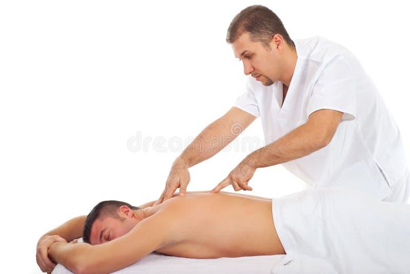 Mann, der Shiatsu Massage empfängt stockfoto