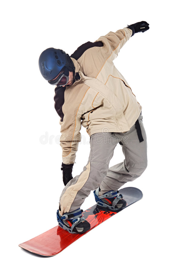 Mann, der Snowboard bildet stockbild