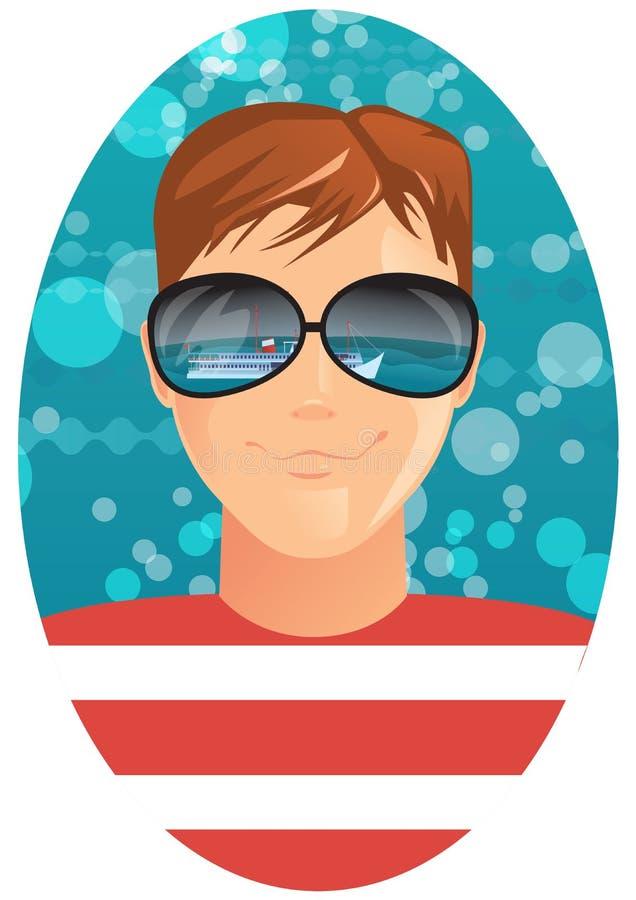 Mann in der Sonnenbrille lizenzfreie abbildung