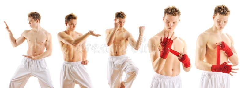 Mann, der Taekwondo-Satz ausbildet stockbilder