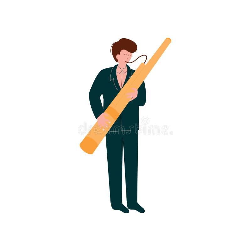 Mann, der traditionellen Fagott, Musiker-Playing Woodwind Instrument-Vektor-Illustration spielt vektor abbildung
