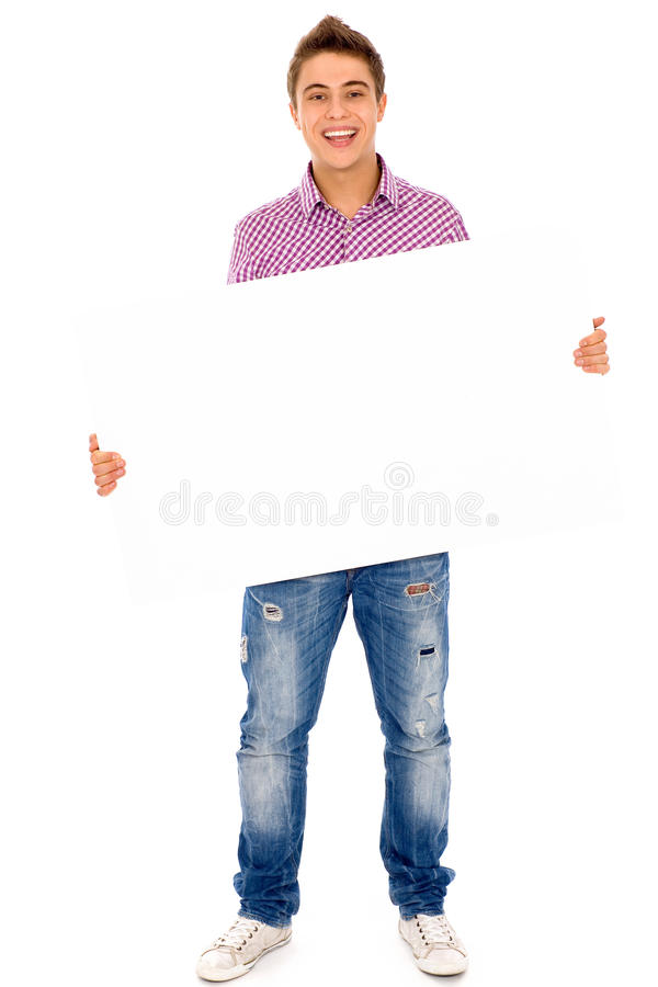 Mann, der unbelegtes Plakat anhält stockfoto