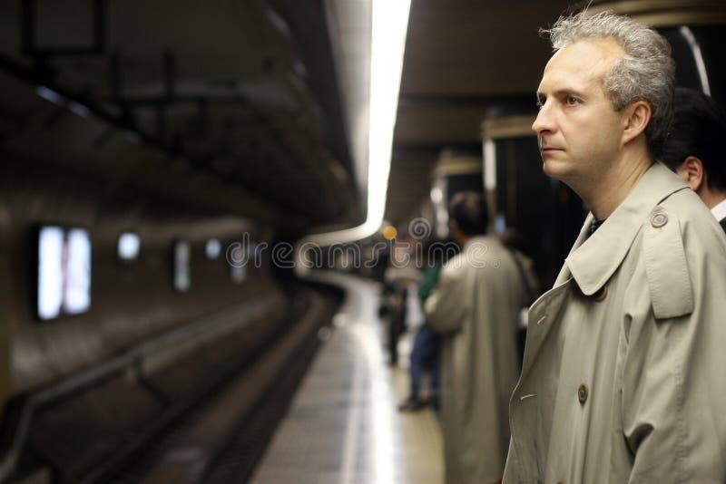 Mann In Der Untergrundbahn Stockfoto