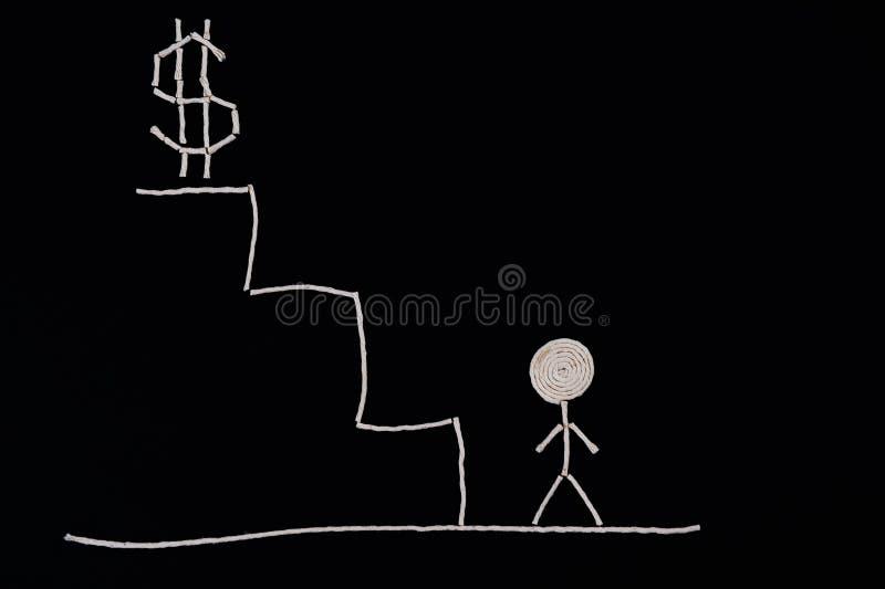 Mann an der Unterseite der Treppe bereit zu folgen, ungewöhnliches Konzept lizenzfreie abbildung