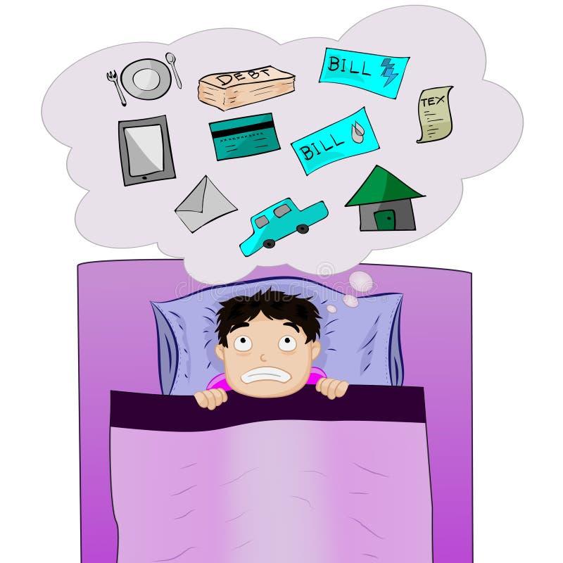 Mann, der viele Outgoings auf Bett denkt lizenzfreie stockfotografie