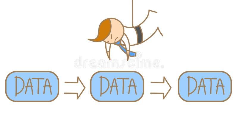 Mann, der von der Decke hängt, um Daten zu stehlen lizenzfreie abbildung