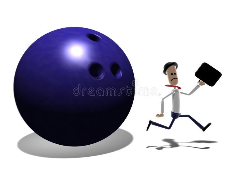 Mann, der von der riesigen Bowlingspielkugel läuft vektor abbildung