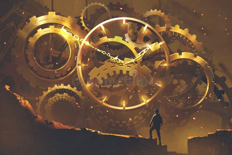 Mann, der vor dem großen goldenen Uhrwerk steht stock abbildung