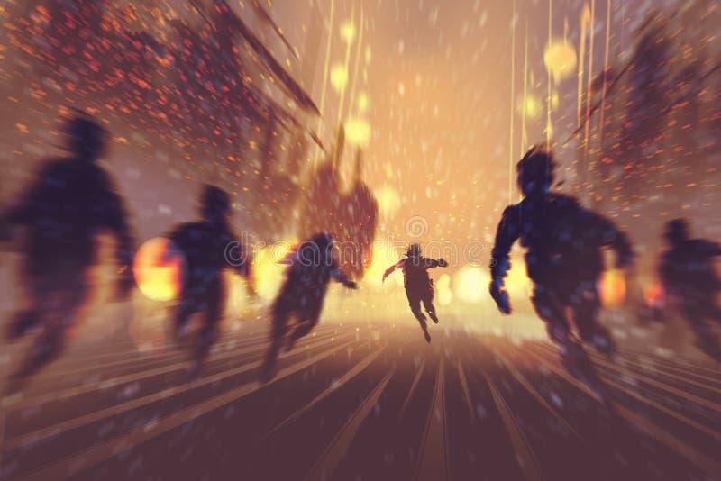 Mann, der weg von Zombies läuft lizenzfreie abbildung