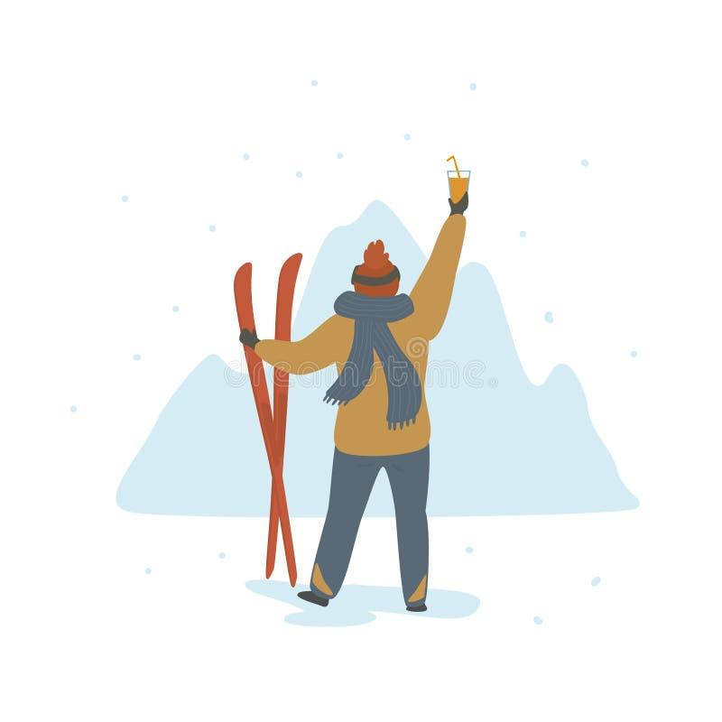 Mann, der Winterurlaube in der hinteren Ansicht des Skiorts feiert lizenzfreie abbildung