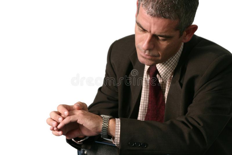 Download Mann, der Zeit überprüft stockfoto. Bild von leute, sitting - 34916