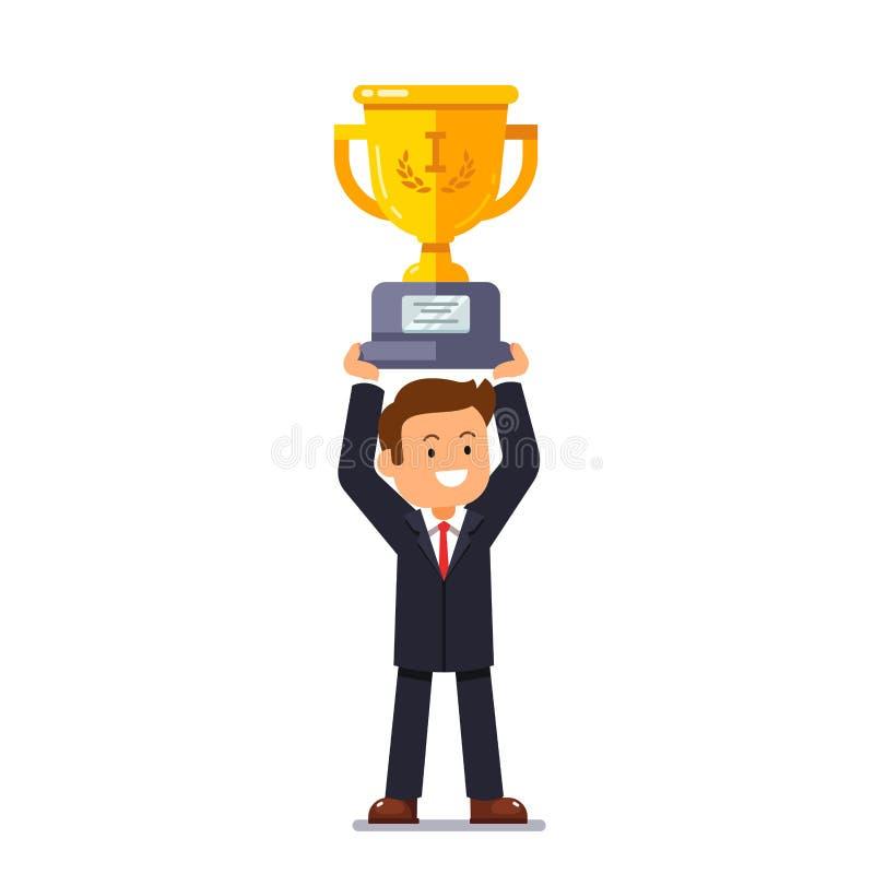 Mann des führenden Vertreters der Wirtschaft, der goldenen Cup des Siegers hält stock abbildung