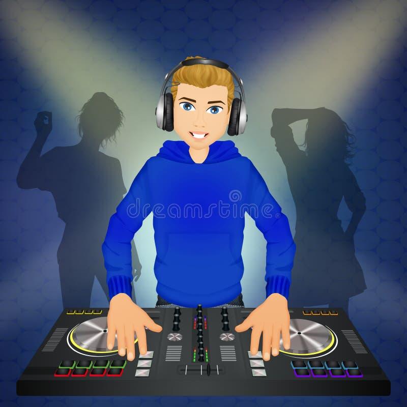 Mann DJ an der Konsole lizenzfreie abbildung