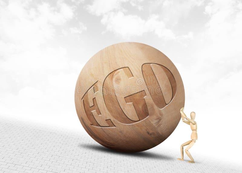 Mann drückt einen enormen hölzernen Ball mit Aufschrift Ego aufwärts entlang der Steigung stockfotografie