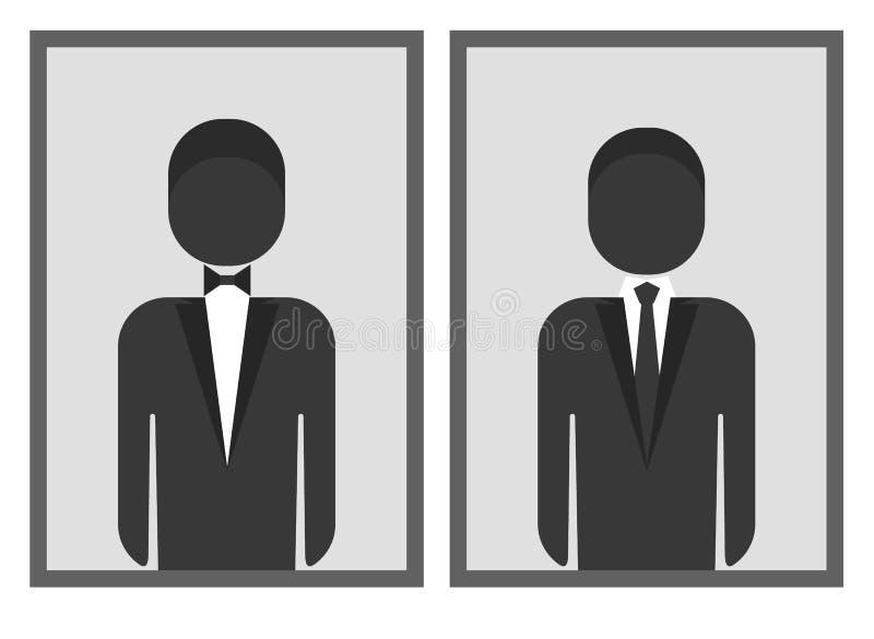 Mann Dresscode Symbol Mit Krawatte Und Fliege Vektor Abbildung ...
