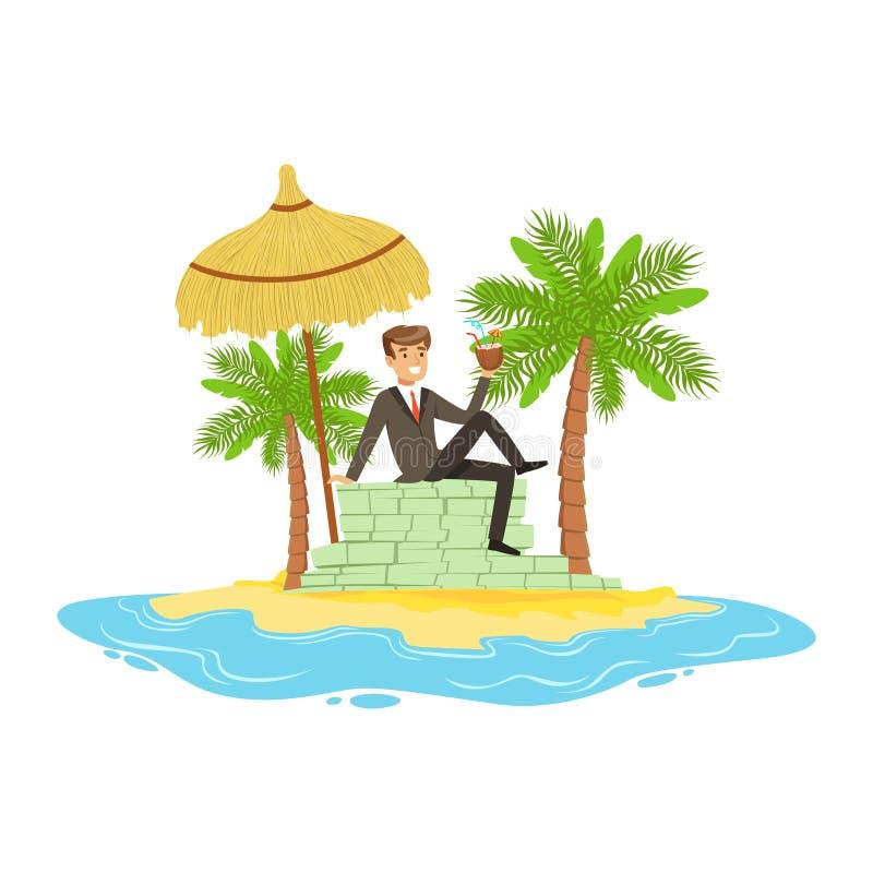 Mann in einem Anzug, der auf einem großen Stapel des Geldes auf einer Tropeninsel, versteckt im Offshorereichtumsbetriebsmittelve vektor abbildung