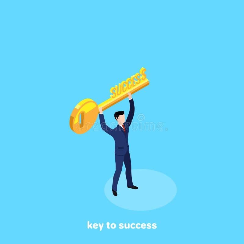 Mann in einem Anzug mit einem goldenen Schlüssel in seinen Händen lizenzfreie abbildung