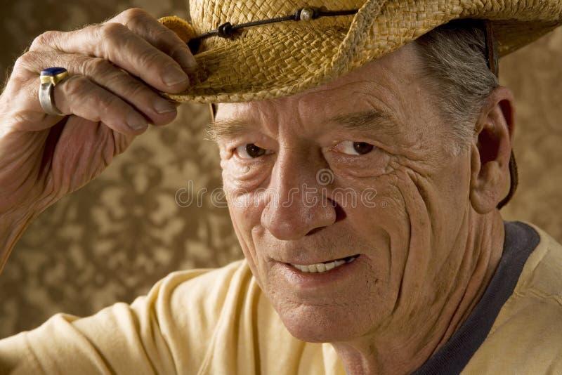 Mann in einem Cowboyhut stockfoto