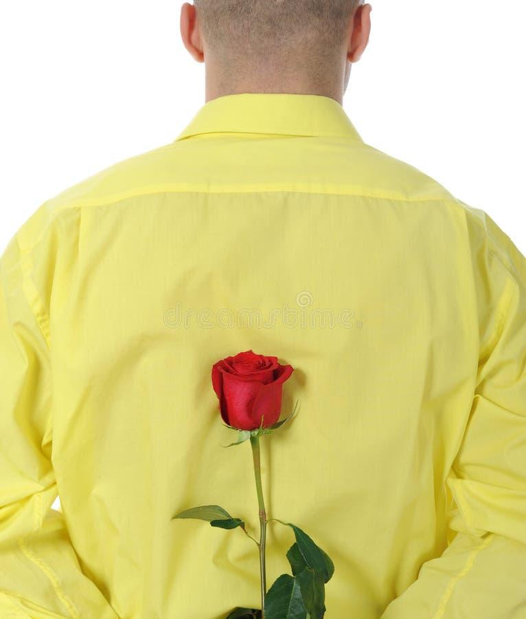 Mann in einem gelben Hemd, das ein Rotes anhält, stieg stockbilder