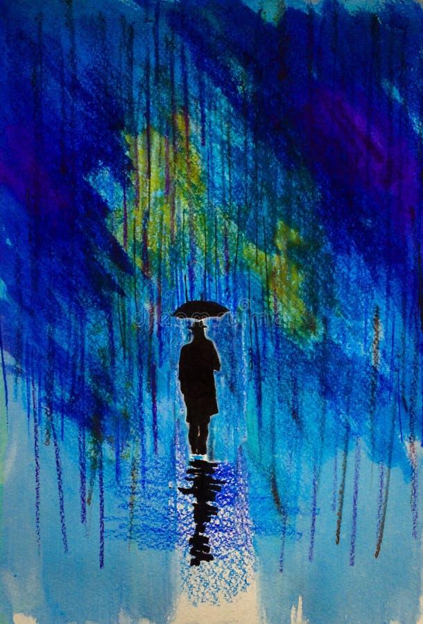 Mann in einem Hut mit einem Regenschirm im Regen lizenzfreie abbildung