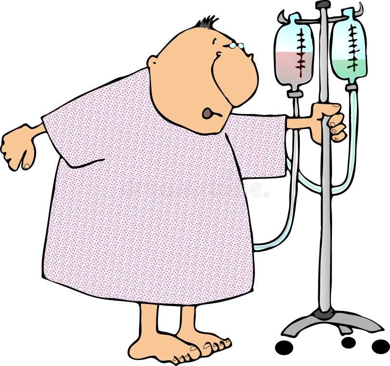 Mann in einem Krankenhauskleid lizenzfreie abbildung