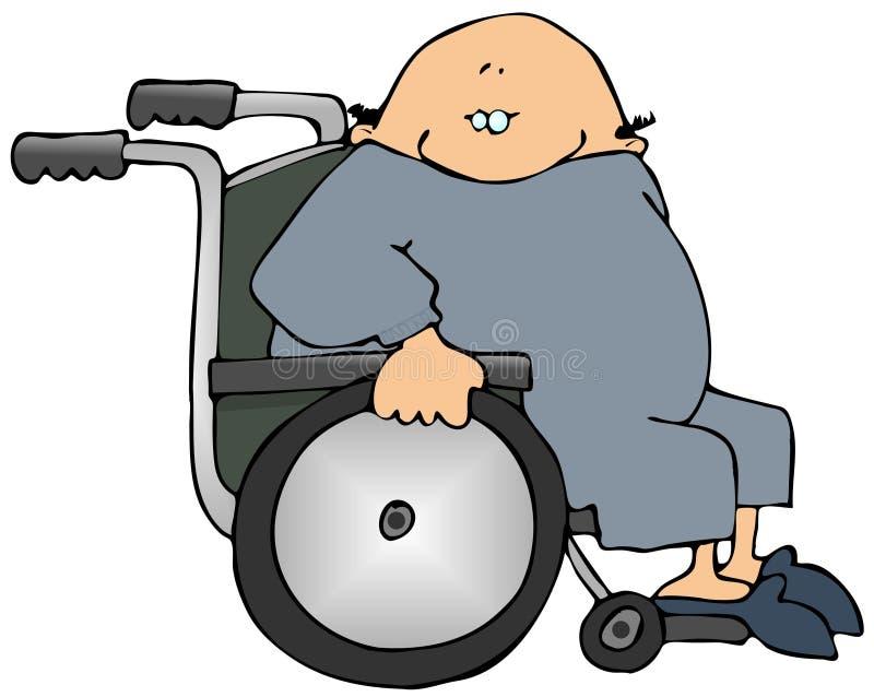 Mann in einem Rollstuhl lizenzfreie abbildung