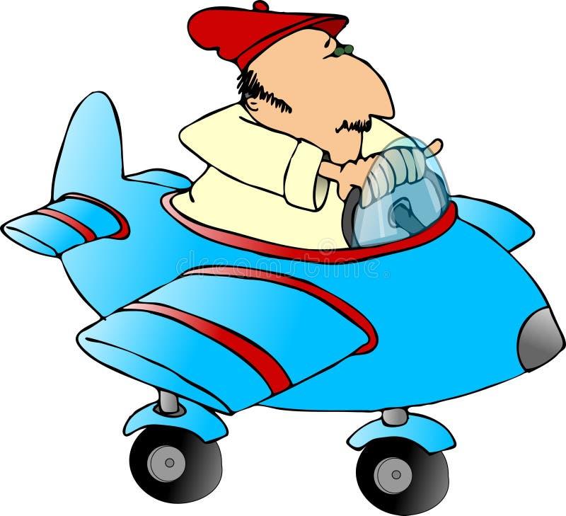 Mann in einem Spielzeugflugzeug lizenzfreie abbildung