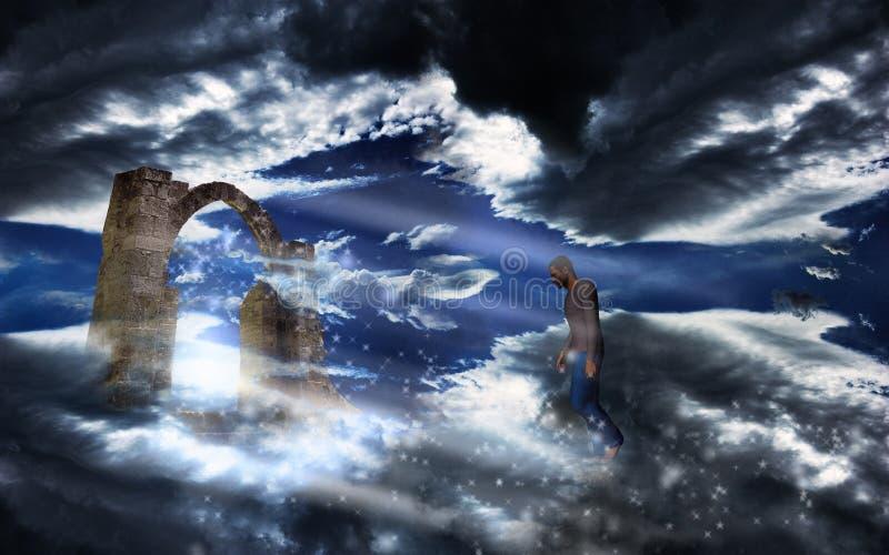 Mann in einen himmlischen Himmel stock abbildung