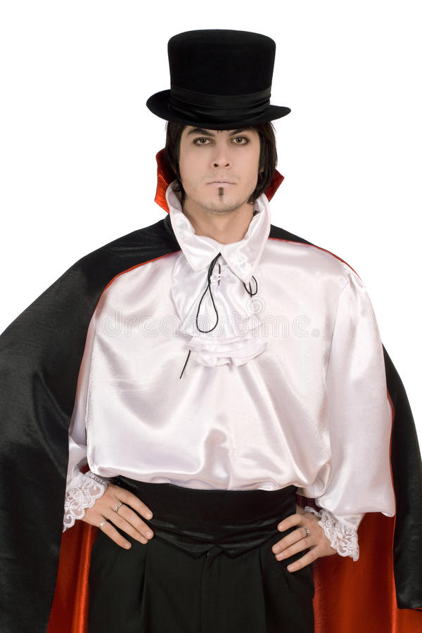 Mann in einer Klage des Zählimpulses Dracula stockfoto